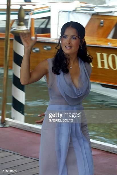 Actress Salma Hayek arrives at the Venice's 59th international film festival 29 August 2002 Hayek plays the part of Frida Kalho in Julie Taymor's...