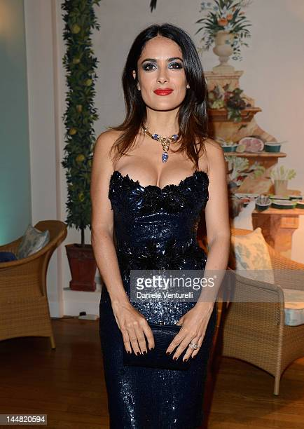 Actress Salma Hayek arrives at Vanity Fair and Gucci Party at Hotel Du Cap during 65th Annual Cannes Film Festival on May 19 2012 in Antibes France