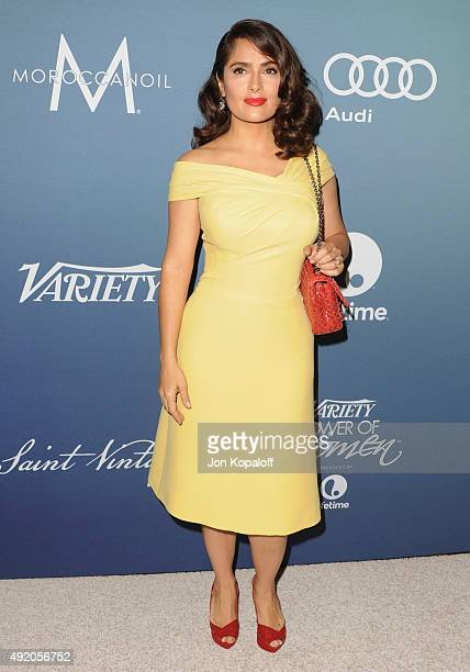 Actress Salma Hayek arrives at Variety's Power Of Women Luncheon at the Beverly Wilshire Four Seasons Hotel on October 9 2015 in Beverly Hills...