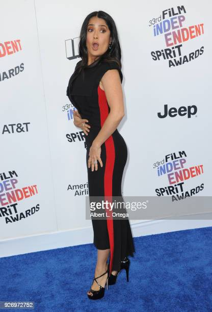 Actress Salma Hayek arrives for the 2018 Film Independent Spirit Awards on March 3 2018 in Santa Monica California