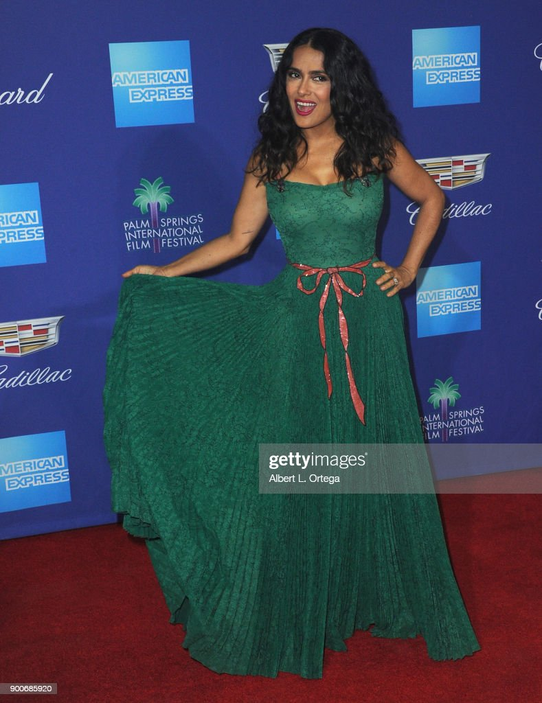 Actress Salma Hayek arrives for the 29th Annual Palm Springs International Film Festival Film Awards Gala held at Palm Springs Convention Center on January 2, 2018 in Palm Springs, California.