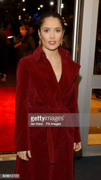 Actress Salma Hayek arrives for the UK film premiere of Frida at the Odeon West End in London The film directed by Julie Taymor tells the story of...