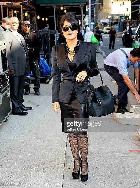 Actress Salma Hayek arrives to Late Show with David Letterman at Ed Sullivan Theater on October 10 2012 in New York City