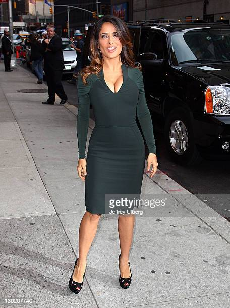 """Actress Salma Hayek arrives to """"Late Show With David Letterman"""" at the Ed Sullivan Theater on October 24, 2011 in New York City."""