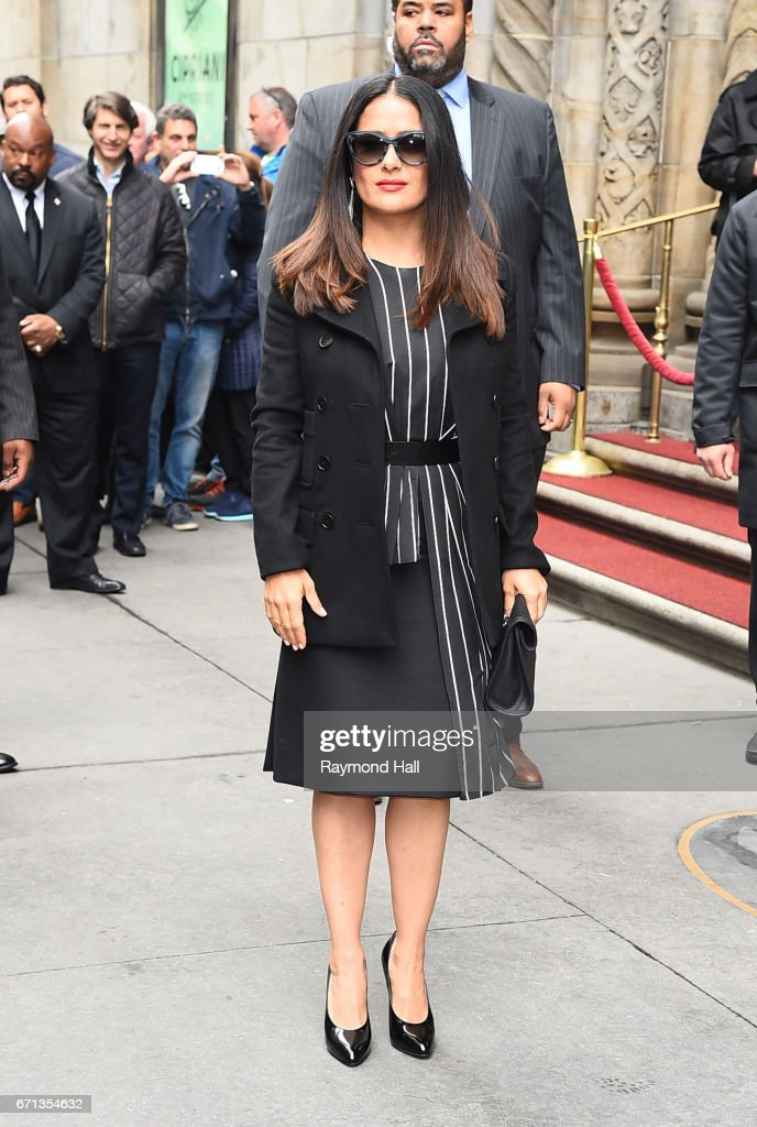 Actress Salma Hayek arrives to Variety's Power of Women New York luncheon at Cipriani Midtown on April 21, 2017 in New York City.