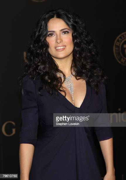 Actress Salma Hayek attends a reception to benefit UNICEF hosted by Gucci during MercedesBenz Fashion Week Fall 2008 at The United Nations on...