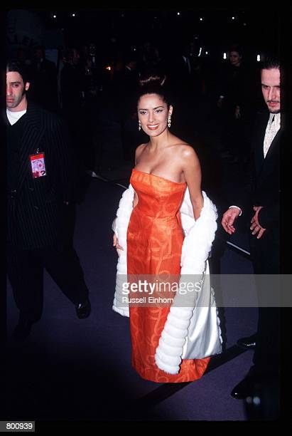 Actress Salma Hayek attends Elizabeth Taylor's 65th birthday party February 16 1997 in Los Angeles CA Twotime Academy Award winner Taylor is a...