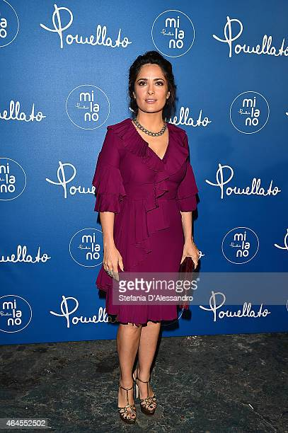 Actress Salma Hayek attends Pomellato Cocktail Party on February 26 2015 in Milan Italy