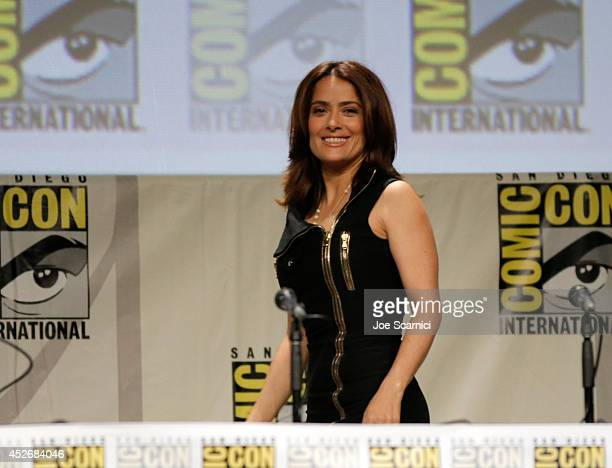 Actress Salma Hayek attends RADiUSTWC Horns Everly panels during ComicCon International 2014 at San Diego Convention Center on July 25 2014 in San...