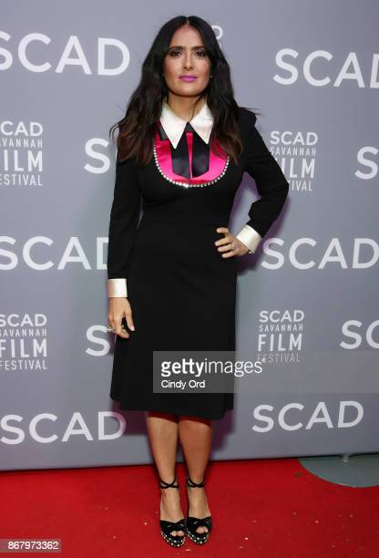 Actress Salma Hayek attends Red Carpet Gala Screening of 'Mudbound' at Trustees Theater during the 20th Anniversary SCAD Savannah Film Festival on...