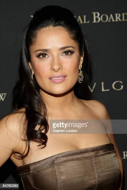Actress Salma Hayek attends the 2008 National Board of Review awards gala at Cipriani on January 14 2009 in New York City