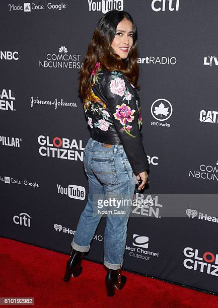 Actress Salma Hayek attends the 2016 Global Citizen Festival In Central Park To End Extreme Poverty By 2030 at Central Park on September 24 2016 in...