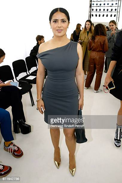 Actress Salma Hayek attends the Balenciaga show as part of the Paris Fashion Week Womenswear Spring/Summer 2017 on October 2 2016 in Paris France