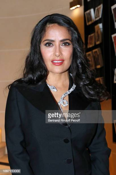 Actress Salma Hayek attends the Boucheron Cocktail Party at Place Vendome on January 20 2019 in Paris France