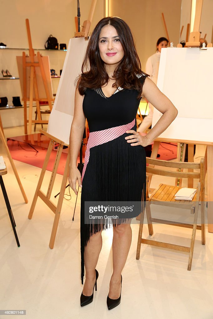 Actress Salma Hayek attends the Christopher Kane Art Class 2015 at Christopher Kane Flagship 6-7 Mount Street on October 15, 2015 in London, England.