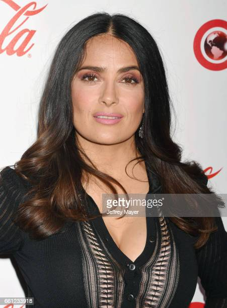 Actress Salma Hayek attends the CinemaCon Big Screen Achievement Awards at Omnia Nightclub at Caesars Palace during CinemaCon, the official...