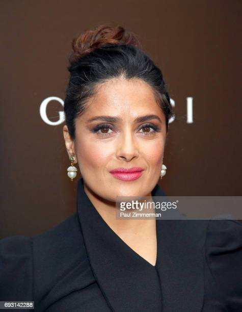 Actress Salma Hayek attends the Gucci The Cinema Society Host A Screening Of Roadside Attractions' Beatriz At Dinner at the Metrograph on June 6 2017...