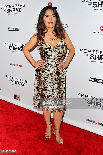 Actress Salma Hayek attends the premiere of Momentum Pictures' 'Septembers of Shiraz' at Museum Of Tolerance on June 21 2016 in Los Angeles California
