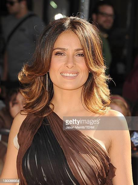 """Actress Salma Hayek attends the """"Puss In Boots"""" Los Angeles Premiere at Regency Village Theatre on October 23, 2011 in Westwood, California."""