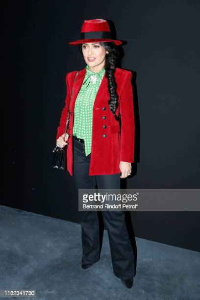 Actress Salma Hayek attends the Saint Laurent show as part of the Paris Fashion Week Womenswear Fall/Winter 2019/2020 on February 26 2019 in Paris...