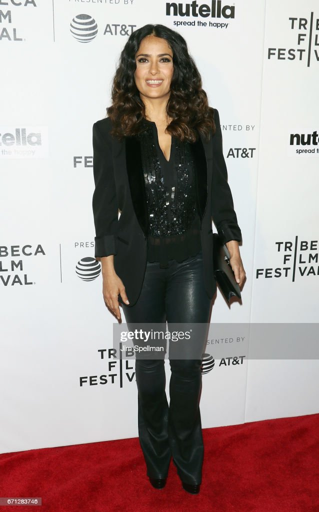 Actress Salma Hayek attends the Shorts Program: New York - Group Therapy during the 2017 Tribeca Film Festival at Regal Battery Park Cinemas on April 21, 2017 in New York City.