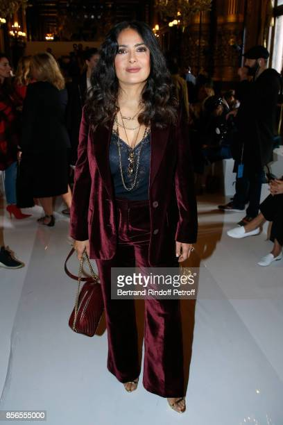 Actress Salma Hayek attends the Stella McCartney show as part of the Paris Fashion Week Womenswear Spring/Summer 2018 on October 2 2017 in Paris...