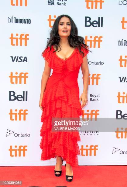 Actress Salma Hayek attends the 'The Hummingbird Project' premiere during the Toronto International Film Festival on September 8 in Toronto Ontario...