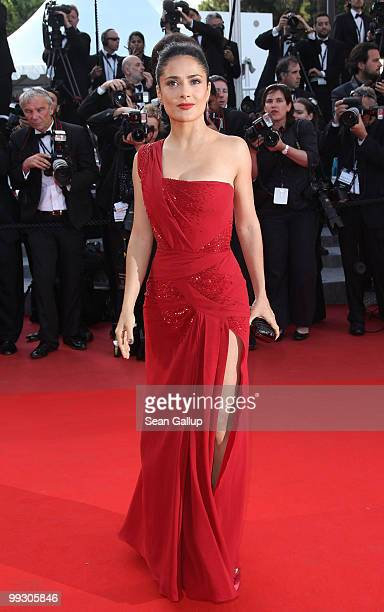 Actress Salma Hayek attends the 'Wall Street Money Never Sleeps' Premiere at the Palais des Festivals during the 63rd Annual Cannes Film Festival on...