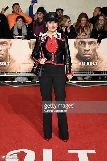 Actress Salma Hayek attends the World Premiere of 'I Am Bolt' at Odeon Leicester Square on November 28 2016 in London England