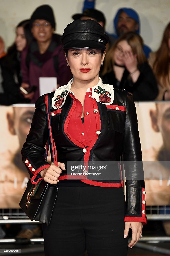Actress Salma Hayek attends the World Premiere of 'I Am Bolt' at Odeon Leicester Square on November 28, 2016 in London, England.