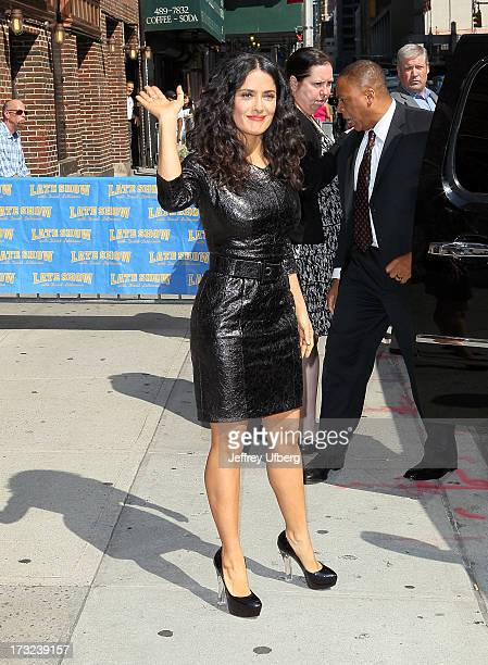"Actress Salma Hayek departs ""Late Show with David Letterman"" at Ed Sullivan Theater on July 10, 2013 in New York City."