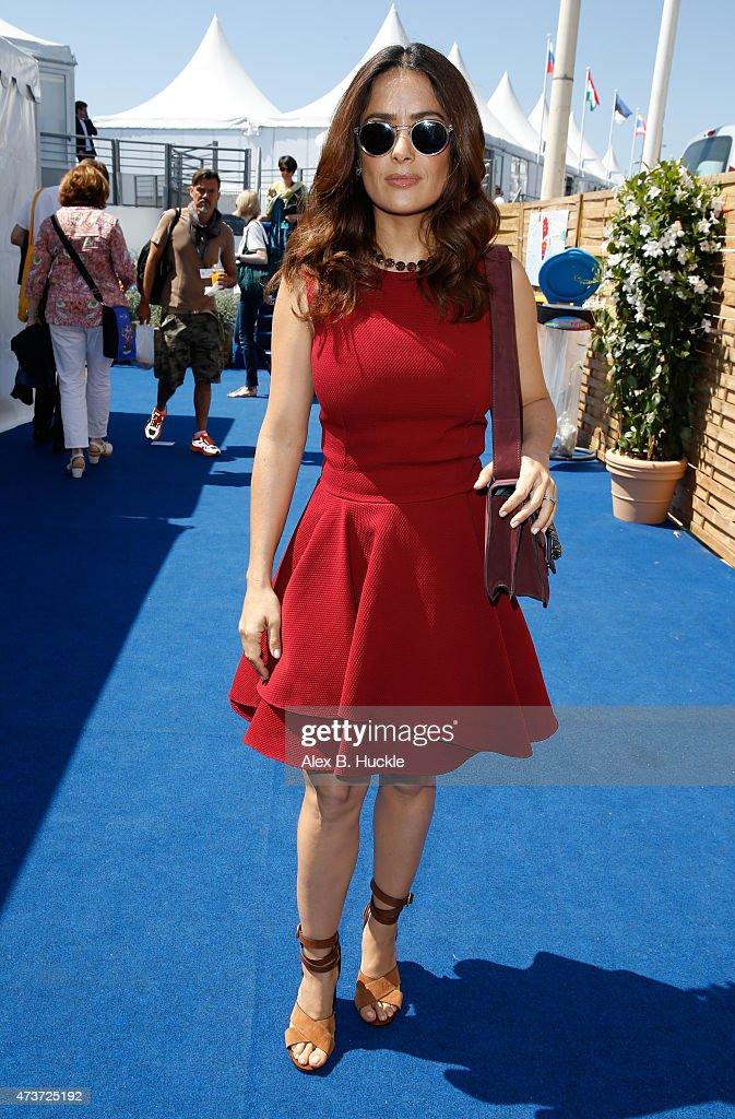 Salma Hayek Talks At The American Pavilion - The 68th Annual Cannes Film Festival : News Photo