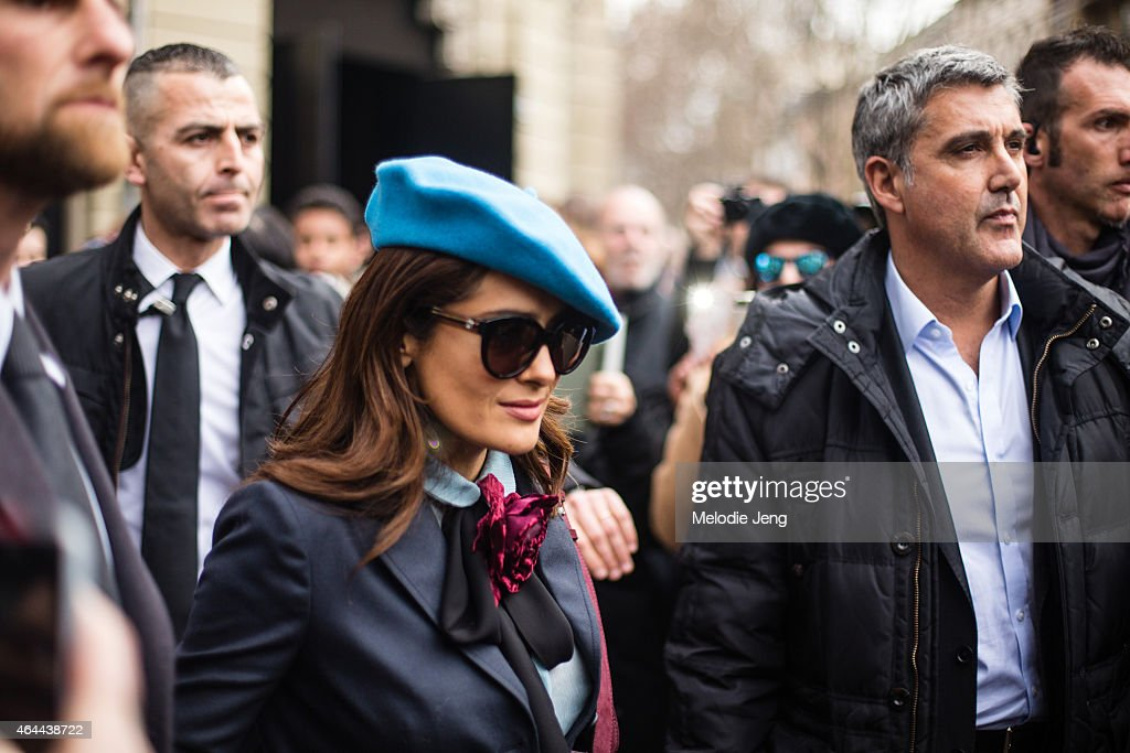 Actress Salma Hayek exits the Gucci show at Piazza Oberdan on February 25, 2015 in Milan, Italy.