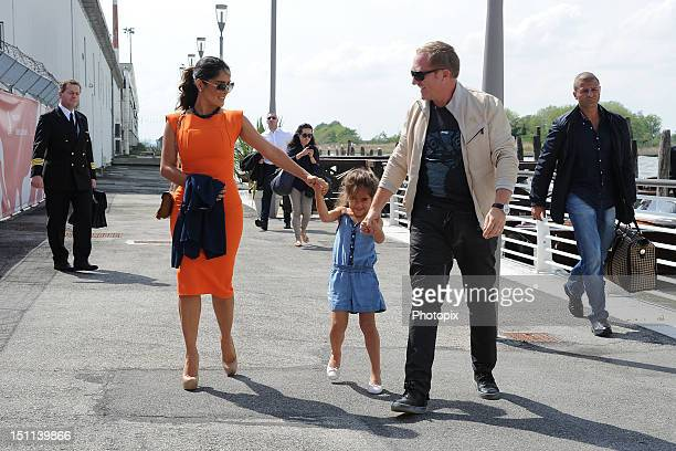 Actress Salma Hayek her husband FrancoisHenri Pinault and her daughter Valentina Pinault are seen during The 69th Venice Film Festival on September 2...
