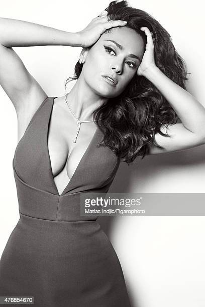 Actress Salma Hayek is photographed for Madame Figaro on May 1 2015 at the Cannes Film Festival in Cannes France Dress Chiodo necklace earrings and...