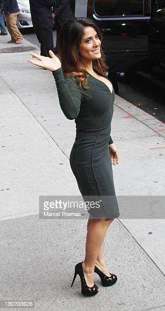 Actress Salma Hayek is seen arriving at the Late Show With David Letterman at the Ed Sullivan Theater on October 24 2011 in New York City