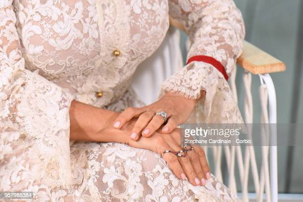 Actress Salma Hayek jewlrey detail at the 71st annual Cannes Film Festival at Majestic Hotel on May 13 2018 in Cannes France