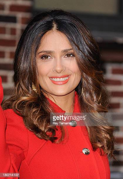 """Actress Salma Hayek leaves the """"Late Show With David Letterman"""" taping at the Ed Sullivan Theater on October 24, 2011 in New York City."""
