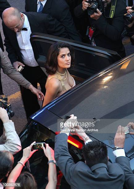 Actress Salma Hayek leaves the Palme d'Or Closing Ceremony held at the Palais des Festivals during the 63rd Annual International Cannes Film Festival...