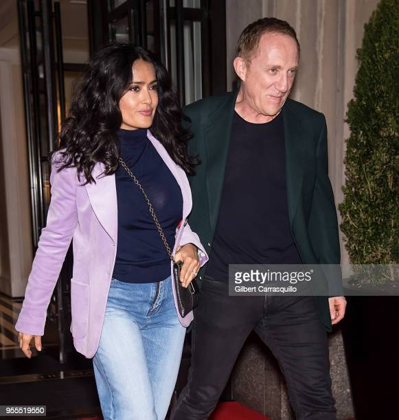 Actress Salma Hayek Pinault and husband, chairman and CEO of Kering/chairman of Groupe Artemis, Francois-Henri Pinault are seen leaving a hotel in...