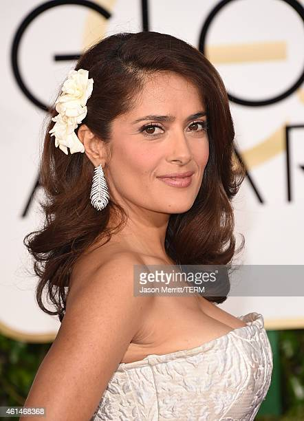 Actress Salma Hayek Pinault attends the 72nd Annual Golden Globe Awards at The Beverly Hilton Hotel on January 11, 2015 in Beverly Hills, California.
