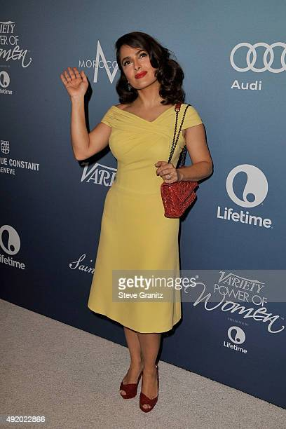 Actress Salma Hayek Pinault attends Variety's Power Of Women Luncheon at the Beverly Wilshire Four Seasons Hotel on October 9, 2015 in Beverly Hills,...