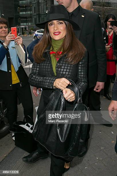 Actress Salma Hayek Pinault is seen leaving the 'Le Grand 8' TV studio on December 1 2015 in Paris France