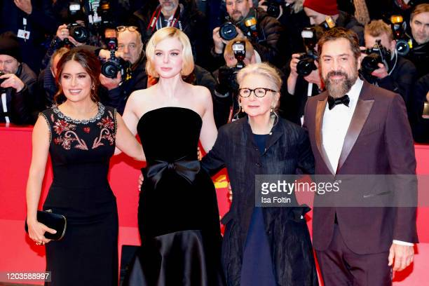 "Actress Salma Hayek pose, actress Elle Fanning, British director Sally Potter and actor Javier Bardem at the ""The Roads Not Taken"" premiere during..."