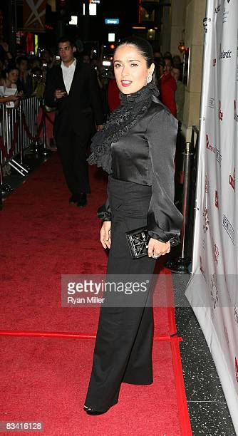 Actress Salma Hayek poses during the arrivals for the Rock The Kasbah fundraising gala benefitting Sir Richard Branson's Virgin Unite foundation on...