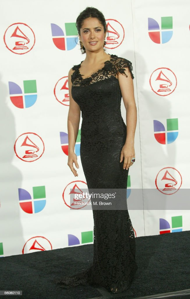 Actress Salma Hayek poses in the press room at the 6th Annual Latin Grammy Awards at the Shrine Auditorium on November 3, 2005 in Los Angeles, California.