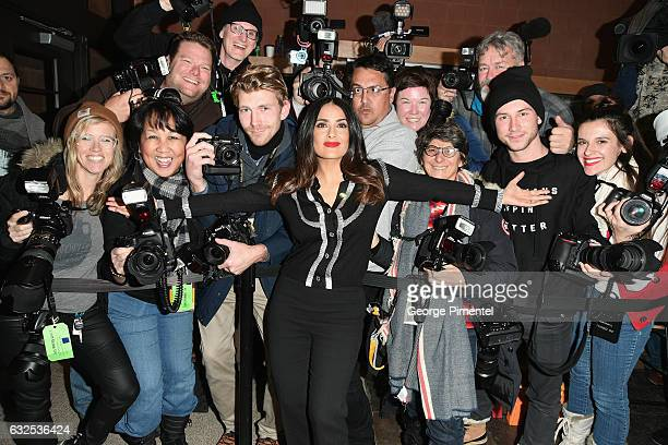 Actress Salma Hayek poses with the press at the Beatriz At Dinner Premiere on day 5 of the Sundance Film Festival at Eccles Center Theatre on January...
