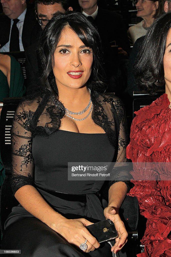 Actress Salma Hayek, President of the Arop Gala evening, attends the Arop Gala Event for Carmen New Production Launch at Opera Bastille on December 13, 2012 in Paris, France.