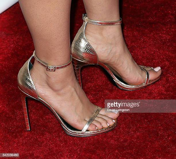 Actress Salma Hayek shoe detail attends the premiere of Momentum Pictures' Septembers of Shiraz at the Museum of Tolerance on June 21 2016 in Los...