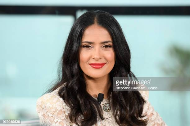 Actress Salma Hayek speaks during the 71st annual Cannes Film Festival at Majestic Hotel on May 13 2018 in Cannes France